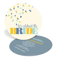 Bridal Shower Invitations -- Blue and Gold Bubbles #peartreegreetings #wedding #bridalshower