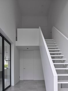 Dutch interior design practice Studio Niels show us through their minimalist, monochrome farmhouse 'The Bright White House' in The Netherlands. White Sheer Curtains, Curtains With Blinds, Window Reveal, Roof Structure, Glass Facades, White Farmhouse, Architectural Features, Staircase Design, Home Studio