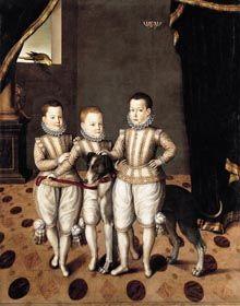Vittorio Amedeo (1587-1637), Emanuele Filiberto (1588-1624) and Filippo Emanuele (1586-1605), di Savoia as young children, c.1593-1594, Jan Kraeck known as Giovanni Caracca (active 1567-1607)