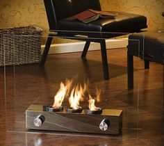So cool - Portable Fireplace. Perfect for the modern urban dweller