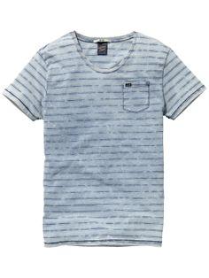 Indigo T-shirt met patroon|T-shirt s/s|Mannenkleding bij Scotch & Soda