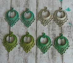 Items similar to Handpainted earring connectors - chandelier charms - patina charms - colorwashed jewelry supplies on Etsy Jewelry Ideas, Unique Jewelry, Earrings Handmade, Crochet Earrings, My Etsy Shop, Hand Painted, Jewellery, Trending Outfits, Handmade Gifts