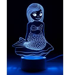 Mermaid, Optical Illusion Night Light in now at Children's Rooms Under The Sea 3d, Toddler Night Light, 3d Optical Illusions, Ceiling Shades, Girls Night, Color Change, Mermaid, Rooms, Colours