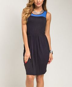 Take a look at this Blue Contrast Sleeveless Dress - Women on zulily today!