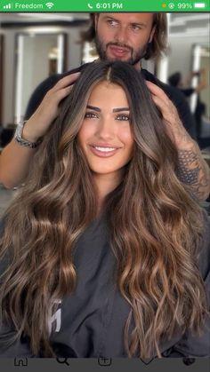 Brown Hair Balayage, Brown Blonde Hair, Hair Highlights, Dark Hair, Brown Bayalage, Best Brunette Hair Color, Hair Color And Cut, Brown Hair Colors, Aesthetic Hair