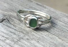 Green Sea Glass Ring Sterling Silver Knot Ring Sz 8.5 (Sizing options available) by lisajdesigns on Etsy