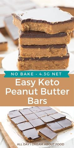 These easy ketopeanut butter bars are the ultimatelow carb treat! They are completely sugar free and grain free, and my kids swear they taste like Reese's Peanut Butter Cups. Low Carb Deserts, Low Carb Sweets, Low Carb Treat, Keto Cookies, Chip Cookies, Keto Dessert Easy, Easy Desserts, Diabetic Desserts, Low Carb Keto