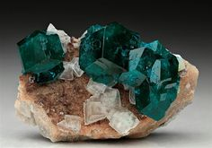 A neat specimen of well-formed Dioptase crystals from Tsumeb Mine, Namibia.