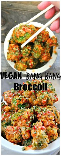 Spice up your vegetables with this simple recipe from Rabbit and Wolves. Eat your veggies with this vegan version of bang bang shrimp. Add this to your vegan diet. It makes for a good vegan party food. Vegan Foods, Vegan Dishes, Food Dishes, Side Dishes, Whole Food Recipes, Cooking Recipes, Oats Recipes, Simple Recipes, Seafood Recipes