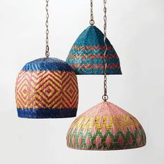 Basket-woven pendant lights by Serena & Lily | @invokethespirit