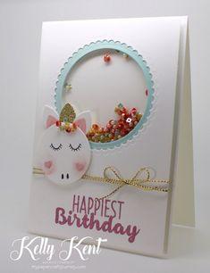 Cute Unicorn Shaker Card. Kelly Kent - mypapercraftjourney.com.