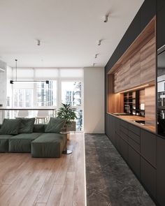 Home Designs Under 100 Sqm With L-Shape Living Spaces (Plus Floor Plans) Dark Green Bathrooms, L Shaped Kitchen, Kitchen Installation, Kitchen Dinning, Open Plan Living, House Numbers, Living Spaces, Floor Plans, House Design