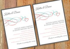 Printable Wedding invitation templates Orange and Silver gray