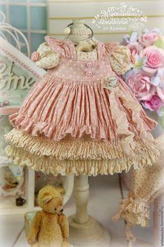 """Купить """" Чай с Коржиком """"  комплект для куклы , шебби шик - платье для куклы"""