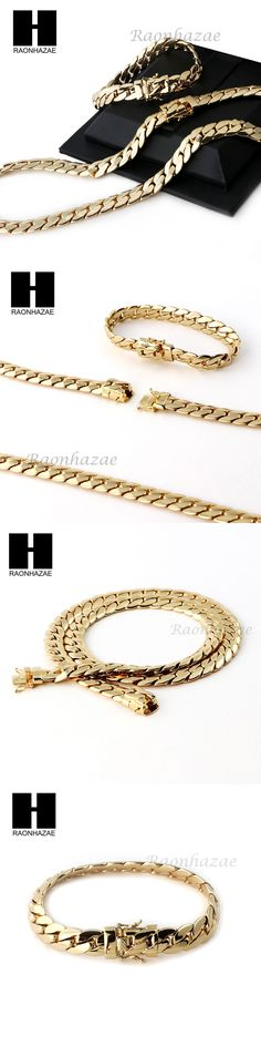 Chains Necklaces and Pendants 137839: 14K Gold Finish Heavy 9Mm Miami Cuban Link Chain Necklace Bracelet Various Setf BUY IT NOW ONLY: $31.34