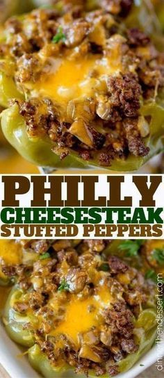 Philly Cheesesteak Stuffed Peppers - Dinner, then Dessert Philly Cheesesteak Stuffed Peppers with all the flavors of your favorite sub sandwich without the carbs and all the cheese, mushrooms, peppers and beef. Casserole Recipes, Meat Recipes, Cooking Recipes, Healthy Recipes, Veggie Recipes Without Cheese, Dinner Recipes, Eat Healthy, Diabetic Recipes, Picnic Recipes