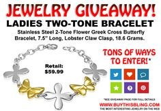 ► ► Enter to Win Jewelry Giveaway Contest Ladies Two-Tone Stainless Steel Bracelet!