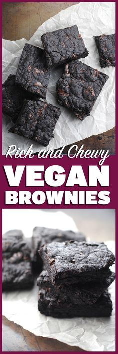 Chewy, rich, fudgy, vegan brownies! This recipe is from Fran Costigan's awesome vegan chocolate dessert book. http://theblenderist.com/the-yoga-of-baking-03-01-2015/