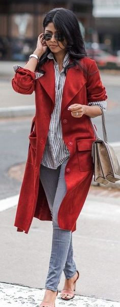 #spring #fashionistas #outfit #ideas |Red suedette trench + stripe shirt + denim |Walk in Wonderland