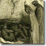 PIÙ PENE CHE PANETITOLO ORIGINALE: MORE PRICKS THAN KICKS | DATA DI COMPOSIZIONE: 1932–1934 | PRIMA EDIZIONE: CHATTO & WINDUS, LONDRA, 1934 | EDIZIONI ITALIANE: GARZANTI, 1975 – SUGARCO, 1994 - (L 'immagine: Belacqua incontrato da Dante e Virgilio nel Purgatorio, illustrazione di Gustave Doré)