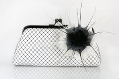 Bridal Black and White Clutch with Flower made with by ANGEEW, $80.00