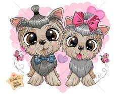 Yorkshire Terriers, Cartoon Dog, Cute Cartoon, Free Vector Images, Vector Free, Typography Prints, Nursery Prints, Yorkie, Boy Or Girl