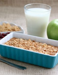Apple Cinnamon Baked Oatmeal Recipe on twopeasandtheirpod.com Our favorite fall oatmeal! We make a big pan and eat it all week!