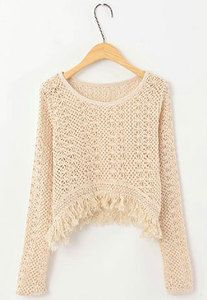 Price:$24.90 Color: Black/Apricot  Material: Knit Fabric Style: Sweet Sweet Crochet Semi-sheer Fringed Pullover Knit Sweatshirt