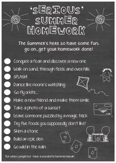Do you give your children summer holiday homework?  Download this 'Serious' Homework PDF from http://teachr.co/1TfPBuC