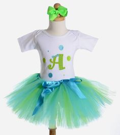 Aqua and Lime Green Initial Birthday Girls Tutu Outfit...So doing this for Sarah