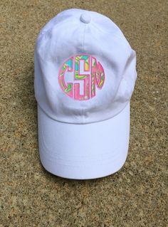 47b4ae55bac Monogrammed Lilly Pulitzer Applique Baseball Hat