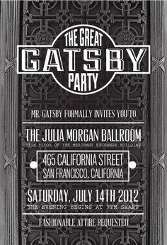 the great gatsby party at the julia morgan ballroom can we throw a great gatsby - Great Gatsby Party Invitations