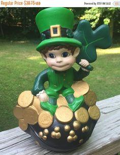 ON SALE Figurine Irish Leprechaun Shamrock Pot of Gold Hand Painted Ceramic Leprechaun Mint Condition