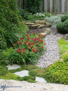 How to Landscape DIY Low Maintenance Gardening: Dry Creek Bed When we finished installing a patio in Garden Beds, Garden Paths, Garden Landscaping, Garden Cottage, Landscaping Ideas, Gravel Garden, Rain Garden, Landscaping Software, Low Maintenance Landscaping