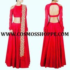 COSMOS WOMEN'S RED RAW SILK LEHENGA  BUY NOW @ https://cosmosshoppe.com/products/cosmos-womens-red-raw-silk-lehenga