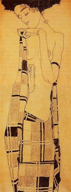 Standing Girl in a Plaid Garment - Egon Schiele Egon Schiele ♦️More Pins Like This At FOSTERGINGER @ Pinterest♦️
