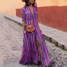 2019 Boho Summer Women Beach Dress Spring Ladies Short Sleeve Maxi Shirt Dress Casual Rainbow Print Long Dresses S Trendy Dresses, Casual Dresses, Summer Dresses, Maxi Dresses, Fashion Dresses, Ladies Dresses, Long Dresses, Wrap Dresses, Casual Wear