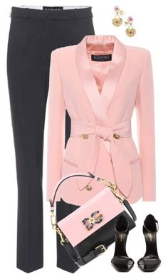 """P&B"" by jacque-reid ❤ liked on Polyvore featuring Etro, Balmain, Dolce&Gabbana and Yves Saint Laurent"