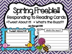 This freebie includes really cute little birds who like to 'tweet.' They can be used in lots of ways, including assessing students as they respond to independent reading.  There are also some cute bees.  Both styles are in color and black & white.  Happy Spring!!