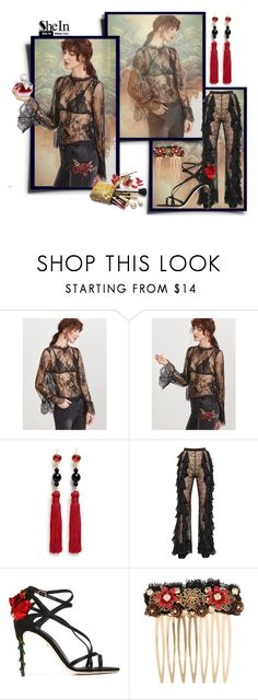 """""""Back-Sheer-Floral-Lace-Top Contest"""" by rainheartcreations ❤ liked on Polyvore featuring Kenneth Jay Lane, Nina Ricci, Balmain, Dolce&Gabbana and Guerlain"""
