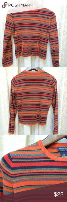 American eagle striped sweater pouch pocket Orange, blue, grey and olive green striped sweater.  Kangaroo pouch in front.  Crew neck.  Size M American Eagle Outfitters Sweaters Crew & Scoop Necks