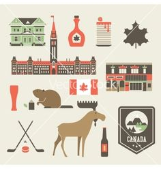 Find Vector Set Various Stylized Canada Icons stock images in HD and millions of other royalty-free stock photos, illustrations and vectors in the Shutterstock collection. Free Vector Art, Free Vector Images, Vector Icons, Canadian Facts, Canadian Things, Facts About Canada, Canada Day, Illustrations, Cool Posters