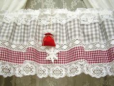 Cortinas Shabby Chic, Shabby Chic Curtains, Vintage Curtains, Rustic Curtains, Kitchen Curtains, Shabby Chic Interiors, Shabby Chic Decor, Interiores Shabby Chic, Country Style Curtains