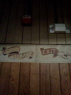 Vintage signage in the invention factory-second floor Alva Edison, Fire Escape, Second Floor, Inventions, Signage, Flooring, Billboard, Wood Flooring, Signs