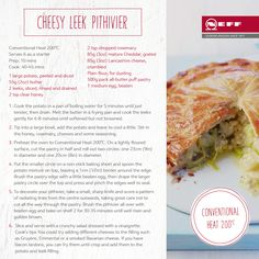 On Tuesday we celebrated seasonal leeks and today we feature them in our cheesy French pithivier.  Add a flavourful twist by using a smoked Bavarian cheese instead of Cheddar and don't forget to score lines on the top crust with a sharp knife,taking care while you cut.