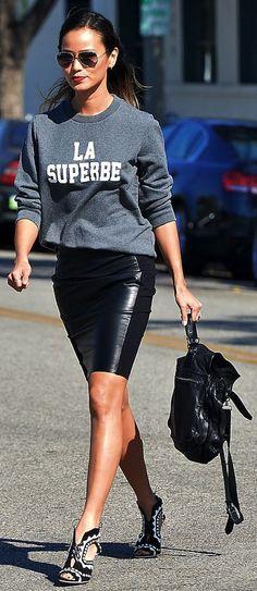 Grey And White 'la Superbe' Printed Sweatshirt by Le Fashion