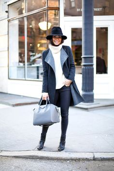 Grey coat with black booties | With Love from Kat