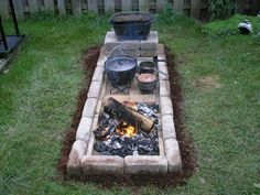 Garden Landscaping Backyard pictures+of+square+fire+pits+for+cast+iron+cooking Fire Pit Cooking, Fire Pit Grill, Cast Iron Cooking, Fire Pit Backyard, Fire Pits, Pit Bbq, Easy Fire Pit, Outdoor Cooking Area, Outdoor Oven