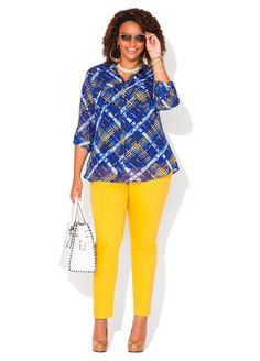 16002d07859 Ashley Stewart 2-Pocket Plaid Tunic and Mustard Seed Jeggings Plus Size  Skinny Jeans