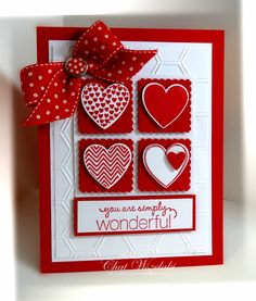 Stamps:  Hearts a Flutter, Friendly Phrases Paper:  Real Red, Whisper White Ink:  Real Red Accessories: polka dot ribbon, designer brad Tools:  hearts punches, Hearts a Flutter Framelit dies